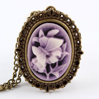 Wholesale Pocket Watch Butterfly - Wholesale-New Purple Butterfly Flower Pocket Watch Necklace Pendant Girl Lady Women Xmas Gift P63
