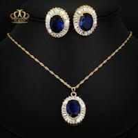 safira azul grande venda por atacado-Anti-alérgicos 3 camadas reais 18 K banhado a ouro amarelo 27 * 21mm Big luxo oval azul corindo birthstone sintético safira conjunto de jóias