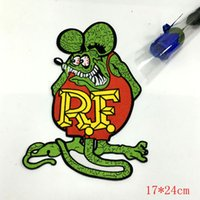 Wholesale Back Patches - Hot Rod Patch Rat Fink Badge HUGE XL back jacket Ed Big Daddy Roth Motorcycle BIG SIZE 17*24CM