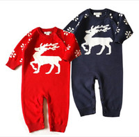 Wholesale Wool Flowers Wholesale - Autumn Toddler Knit Flower Rompers Newborn Kids Knitted Cartoon Jumpsuits Babies Christmas Clothing 2017 kids clothes