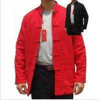 Wholesale Men S Red Jackets - Wholesale- Black Red Chinese Men Cotton Linen Jacket Reversible Kung Fu Coat Long Sleeve Outerwear Size S M L XL XXL XXXL 2973-2