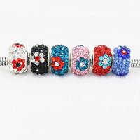 Wholesale Polymer Clay Flowers For Jewelry - Flower Polymer Clay Crystal Charm Bead 925 Silver Plated Fashion Women Jewelry European Style For Pandora Bracelet Necklace