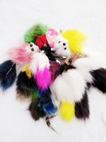 Wholesale Blue Fur Tail - Butterfly Led Accessories The Fox's Tail Mixed Color Fur Ball Key Chain Animals Cute Keychains Wholesale