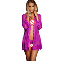 Wholesale Summer For Women Sex - Sex Clothes for Women Lingerie Babydoll Lace Trim Robe with Thong Summer Sheer Sexy Nightwear Erotic Lingerie Porno Costumes