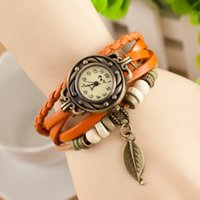 Wholesale Cheapest Casual Watch - DHgate Cheapest Luxury Pastoral Vintage Watch Leaf Pendant Leather Strap Casual Watches Analog Bronze Leaves Women Ladies Quartz watch 2017