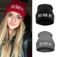 Wholesale Cotton Beanie Wholesale - Sport Beanie Bad Hair Day Beanie Cap Women Cotton Blend Letter Printed Knitted Winter beanies Hiphop Hats Caps cheap RD671503