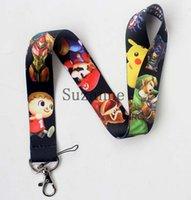 Wholesale Super Mario Game Card - Free Shipping 40 Pcs Game Super Mario Lanyards Neck Strap Keys Camera ID Card Lanyard Mobile Phone Neck Straps