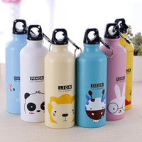 Wholesale- 500ml Cute Cartoon Animal Family Sport Bottiglie d'acqua Coniglio Elefante Portatile portatile Bottiglia di alluminio Moschettone regalo 45