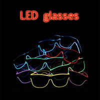 Wholesale Birthday Plastic Glasses - Christmas LED Party Glasses Fashion EL Wire glasses Birthday Halloween party Bar Decorative supplier Luminous Glasses