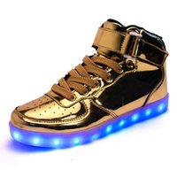 Wholesale Dancing Shoes Gold - Colorful glowing shoes USB charging ghost dance step LED luminous breathable luminous shoes sneakers men & women Running shoes free shipping