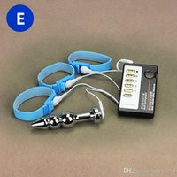 Wholesale Delayed Ejaculation - Electric Shock Orgasm Toys Penis Ring + Anal Plug Men Home Medical Themed Toy Delay Ejaculation Home Therapy Equipment Sex Product