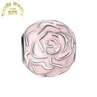 Wholesale Sterling Silver Bracelet Connectors - High Quality Authentic S925 Sterling Silver Rose Garden Charm Clip Lock with Pink Enamel Fits European Pandora Jewelry Bracelets & Necklaces