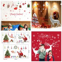 Wholesale Tree Wallpaper Decoration - Christmas Tree Santa Claus wallpapers Living Room Bedroom Removable Clear PVC Wall Stickers 60*90CM Christmas Decorations 100 PCS YYA806