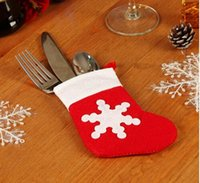 Wholesale Christmas Dinnerware Sets - Christmas Stockings Dinnerware Cover Xmas Tree Christmas Decorations Festival Party Ornament Festive Party Supplies Set Of 12PCS
