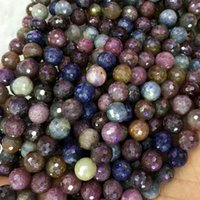 """Wholesale Loose Rubies Wholesale - Natural Genuine Multi-Color Red Purple Blue Ruby Sapphire Round Loose Beads 4-18mm DIY Jewelry Necklaces or Bracelets 16"""" 04073"""