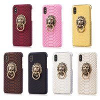 Wholesale Brown Gold Rings - For Iphone X Case Luxury Leather Hard PC Back Cover with Ring Kickstand For iphone x 8 8plus
