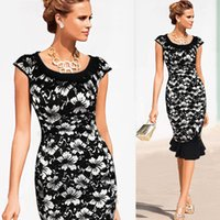 Wholesale Dress Pans - 2016 European Bodycon Women Summer Dress Peter Pan Collar Patchwork Vestidos Plus Size Dress Elegant Party Dresses