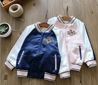 Wholesale Pink Leisure Coat - 2017 Autumn New Girls Outerwear Flowers Embroidered Long Sleeve Leisure Coat Children Clothing 317861