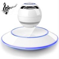 manyetik kaldırma hoparlörleri toptan satış-Stereo Ses Taşınabilir Manyetik Levitasyonunun Hoparlör Kablosuz Yüzer Orb Bluetooth Hoparlör Cep Telefonu MP3 için LED