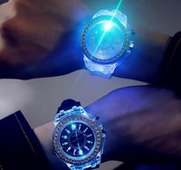 Wholesale Diamond Watch Led - The Latest Explosion Models Selling Luminous Personality Diamond LED Harajuku Fashion Creative Silicone Luminous Watch Fruit Lovers of Male