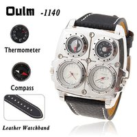 Wholesale Oulm Watches For Men - Oulm watch with quartz movement leather band christmas gifts watch with fuctional dial for the business man for the christmas gifts