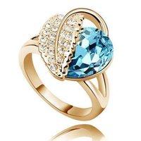 elmas şekilli kristaller toptan satış-Avusturya kristal Çek Gümüş veya Altın kaplama Yüzük elmas Takı yüzükler 10 renkler Kalp şekilli Yüzükler Kadınlar için düğün