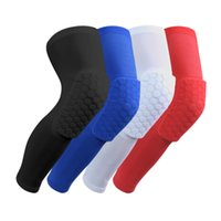 Wholesale Honeycomb Basketball Knee Pads - Professional Breathable Sports Men Honeycomb Long Knee Support Brace Pad Protector Sport Basketball Leg Sleeve Sports Kneepad Free Shipping