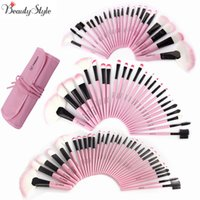Wholesale 32 pcs makeup brush pink - Pink 22 24 32 Pcs Set Professional Makeup Brushes Kits Eyebrow Foundation Power Maquiagem Eyeliner Lip Blush Beauty Tool Bag