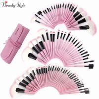 bolsas de color rosa rubor al por mayor-Rosa 22 24 32 Unids / set Kits de pinceles de maquillaje profesional Fundación de cejas Power Maquiagem Eyeliner Lip Blush Beauty Tool Bag