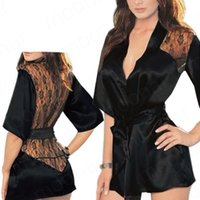 Wholesale Lace Sleep Shirts - Wholesale-New Women Sexy Sleep Wear coat Sexy Lace Patchwork Black Lace Sleepingcoat Lady with Waistband