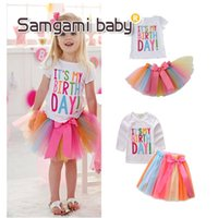 Wholesale Beautiful Girl Skirt Long - New Summer Princess Outfits Sets Letter It's my birthday Tops Shirt + Rainbow Skirts Tutu Bowknot Skirt 2pcs Beautiful Set For Girl A7557