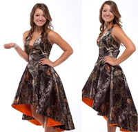 Wholesale Dark Red Brides Maid Dresses - Custom Made High Low Realtree Camoflage Camo Bridesmaid Dresses 2017 Hot Sale Bride Maid of Honor Dress Wedding Party Gowns BA2441