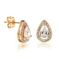 Wholesale Big Teardrop Earrings - Elegant Platinum Plated  Gold Plated Big Zirconia Crystal Teardrop Earrings Stud for Women Trendy Women Jewelry