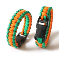 Wholesale Paracord Orange - 20Pcs Survival Outdoor Bracelets Paracord Bracelet With Plastic Button Escape Life-saving Bracelet For Outdoor Sports Camp Orange+Green