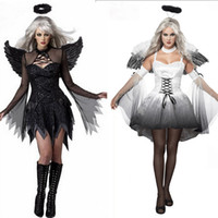 Wholesale Adult Party Wings - 2017 Halloween Costumes For Women Fantasy Cosplay Party Fancy Dress Adult White Black Fallen Angel Costume With Angel Wings RF0095