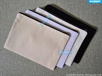 ingrosso borsa della moneta di tela semplice-50pcs / lot 12 once cotone nero tela borsa cosmetica con nylon oro zip pianura unisex portamonete bianco sacchetto di trucco con fodera di colore corrispondenza 7x10in