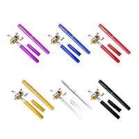 Wholesale Heavy Fishing Rod Reel - 1pc Mini Portable Aluminum Alloy Pocket Pen Shape Fish Fishing Rod Pole With Reel 6 Colors