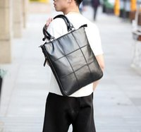 Wholesale Handbags Street Style - factory sales brand new mens Leather Laptop Bag Korean single shoulder bag handbag men Plaid leisure Street Style