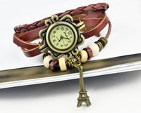 ingrosso braccialetto di fascino della vigilanza di cuoio delle donne-Charms Orologi Bracciale Donna Orologi Moda pelle orologio da polso al quarzo Goddess corona quadrante tondo trasporto libero