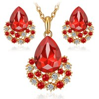 Wholesale Diamond South Africa - Ruby Jewelry set 18k gold plated women austrian crystal wedding party fashion diamond necklace earings Africa Sapphire Drops set Jewelrys