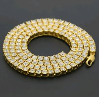 Wholesale Women Necklace Row - 20 24 30 inches Chain Necklace for Couple Men Women Single Row Rhinestone Gold Plated Chain Jewelry for Man Silver Black