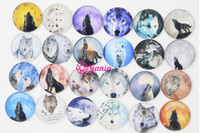 Wholesale Bracelet Wolf - DIY Interchangeable 18mm Cabochon Glass Stone Buttons Animal Wolf Button for Snap Jewelry Bracelet Necklace Ring Earrings