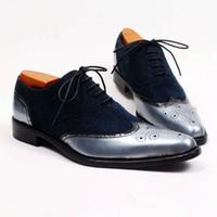 Wholesale Wingtips Shoes Men - Men Dress shoes Oxfords shoes Custom handmade shoes Genuine calf Leather wingtip brogue shoes new arrival HD-258