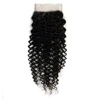 verwickelt großhandel-Malaysisches Jungfrau-Haar 4 * 4 Spitze-Schließung verworrenes lockiges Haar-Verschluss-freies Teil 100% Remy Haar-Erweiterungen 10-24 Zoll keine Verwicklung-natürliche Farbe
