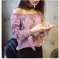 Wholesale Shirt Camicie - 2016063001 spring summer red plaid blouse off shoulder women shirt bow kawaii retro top chemise femme chemisier camicia donna camicie