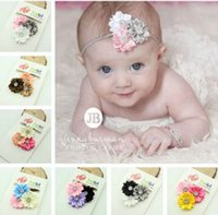 Wholesale Flower Photographs - Baby 2 layer with diamond Polyhedrosis flower hair accessories headdress Elastic hair band Headwear Baby photographed props