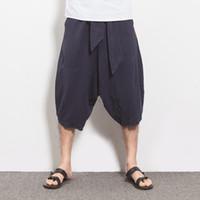 Wholesale Flax Pants Xl - Wholesale-Summer Men Flax Linen Pants Loose Harem Waisted Drawstring Cotton Men Linen Bottoms High Quality Luxury Brand Men Linen Trousers