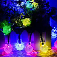50 LEDs solaire Powered LED Lights chaîne extérieure Crystal Ball Fairy Strip Lights pour extérieur Garden Patio Party Noël