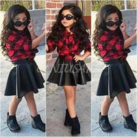 Wholesale Kids Leather Skirts - 2016 Spring Autumn Children Clothes Sets European Girl Long Sleeve Plaid Blouse +Pu Leather Skirts Two Piece Sets Kids Outfits