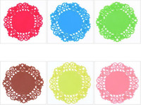 Wholesale Lace Coasters - New Colorful Lace Flower Hollow Design Round Silicone Table Heat Resistant Mat Cup Coffee Coaster Cushion Placemat Pad